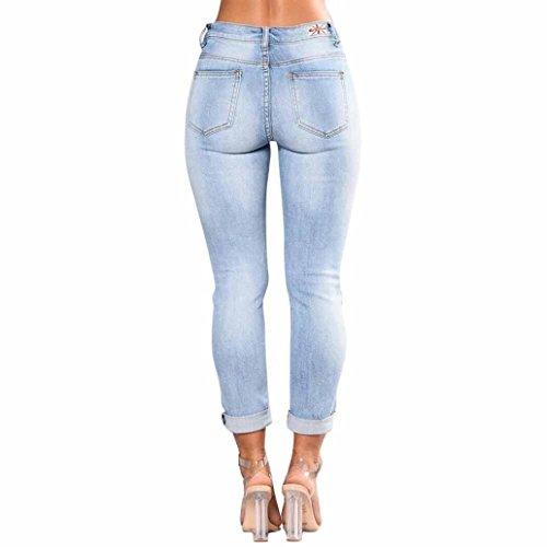 Han Shi Pencil Trousers, Womens Skinny Slim Embroidered Elastic Jeans Leggings Yoga Pants (XL, Blue)