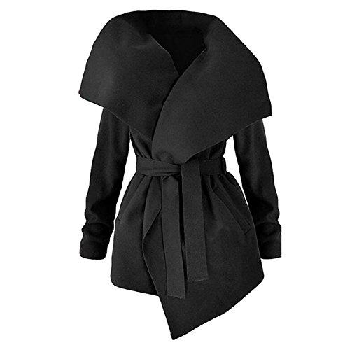Cappotti Maniche Cintura Donna Da Juleya Elegante Nero Trench Lunghe Cardigan Inverno Giacca Con qECBwWnxpx
