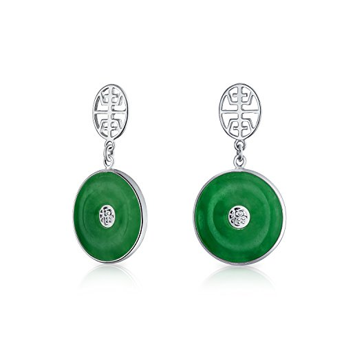 Asian Style Circle Round Good Fortune Symbol Dyed Green Jade Disc Dangle Drop Earrings For Women 925 Sterling Silver