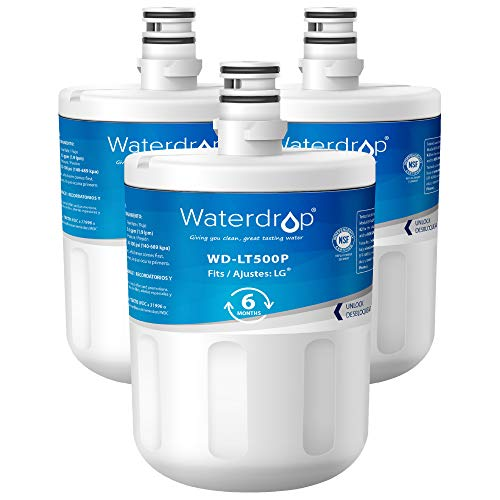 Waterdrop Refrigerator Water Filter, Compatible with LG LT500P, 5231JA2002A, ADQ72910901, ADQ72910907, Kenmore GEN11042FR-08, 9890, 469890, 46-9890, Pack of 3