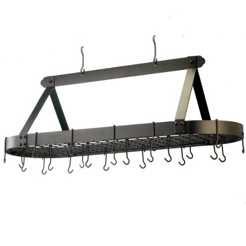 Old Dutch Oval Hanging Pot Rack with Grid & 24 Hooks, Oiled Bronze, 48 x 19 x 15.5 by Old Dutch