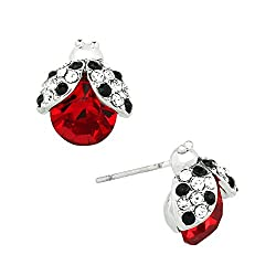 Sparkling Crystal Ladybug Earrings