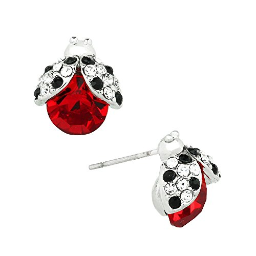 Liavy's Ladybug Fashionable Earrings - Stud - Sparkling Crystal - Unique Gift and -