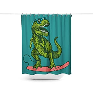 happy dinosaur surfer wearing sunglasses drawing Shower Curtains,Water-Repellent & Anti-bacterial Waterproof Mildew-Resistant Fabric with 12 Curtain Hooks 72-Inch by 72-Inch