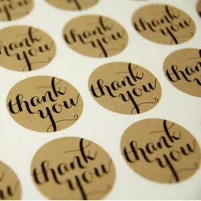 Thank You Round Kraft Paper Sticker Labels Packaging Seals Crafts Wedding Favor Tag Toppers (Set of 120) by AllHeartDesires ()