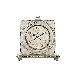 Stonebriar Victoria Station Table top Clock, Off Off White