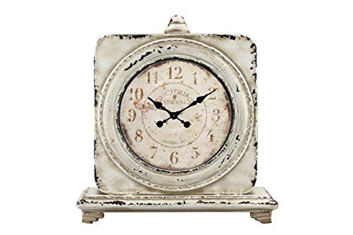Stonebriar Large 12 Inch Square Antique White Victoria Station Table Top Clock, French Country and Shabby Chic Home Decor Accent for Living Room, Office, Kitchen, or Bedroom, Battery Operated -