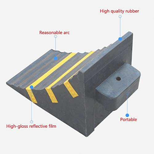 WE&ZHE Anti-Slipper Block Reverse Tire Positioning Blocker Parking Heavy Duty Large Solid Rubber Wheel Chock with Handle for Travel Trailer, Truck, Commercial Vehicle by WE&ZHE (Image #1)