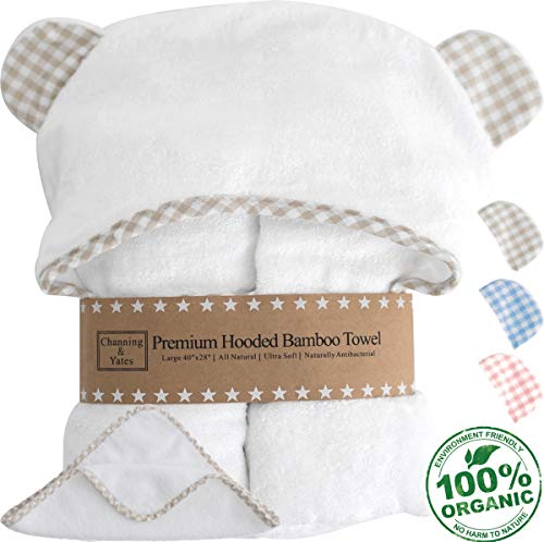 Premium Hooded Baby Towel and Washcloth Gift Set - Largest Organic Baby Towels and Washcloths - Bamboo Baby Towel with Hood - Hypoallergenic Toddler Towel - Baby Shower Gift for Boys or Girls (Beige) ()