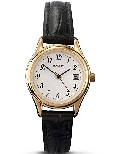 Sekonda Women's Quartz Watch with White Dial Analogue Display and Black Leather Strap 4082.27