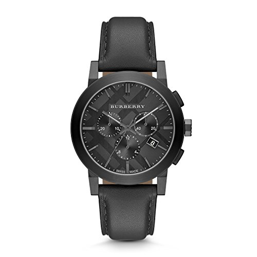 Burberry-Black-Dial-Stainless-Steel-Leather-Chrono-Quartz-Mens-Watch-BU9364