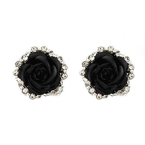 Yanvan Jewelry Stud Earrings, Elegant Cute Earrings for Women Lady Girls Rose Flower Clip on Earrings