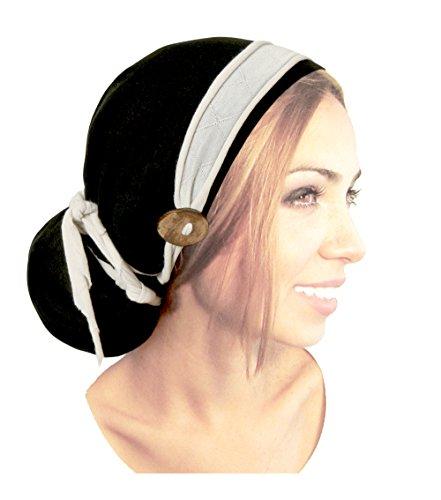 (Soft Cotton Black pre-Tied Headscarf Tichel Turban with Cream Head-wrap Boho Chic Handmade Coconut Buttons! (Black Cream - co02))