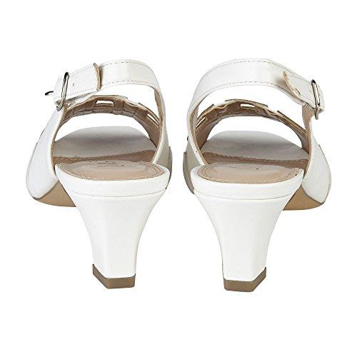 Lotus Aubrey Womens Smart Sling Back Shoes White/Silver IdINE