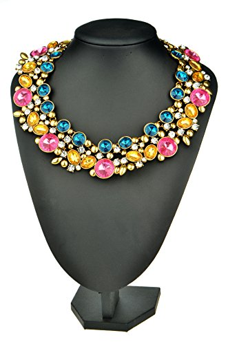 Veenajo 3 Vibrant Colors Fashion Collar Necklace with Gold Chain & Colorful Glass- Color Box Packing