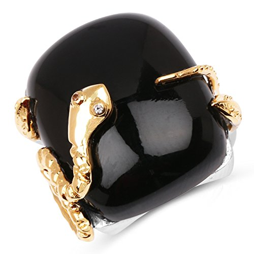 - Snake Ring, 18.94 Carat Genuine Black Onyx and White Topaz Solid .925 Sterling Silver