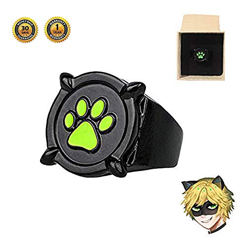 Ladybug Miraculous Costume Ring Girls - Cat Nior Ring US Size 6 Gifts for Kids -