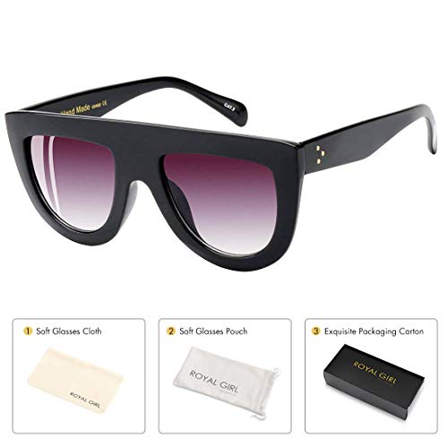 ROYAL GIRL Flat Top Sunglasses For Women Trendy Oversized Goggles Vintage Shades (BLACK, ()