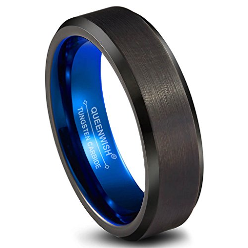 [Tungsten Wedding Band Ring 6mm Men Women Blue Black Gunmetal Beveled Edge Brushed Polished Size 6.5] (Band Tiffany Style Ring)
