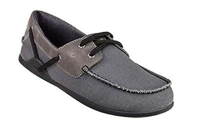 Xero Shoes Boaty - Men's Slip On Boat Shoe - Barefoot Inspired Minimalist Zero Drop Canvas Casual Shoe - Charcoal Grey Size: 6.5