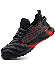 AINGRN Werkschoenen Dames Ademend Veligheidsschuoenen anti-perforatie Anti-Smashing sportieve Schoenen Safety Shoes S3 35-48 EU (Color : Red, Size : 38 EU)