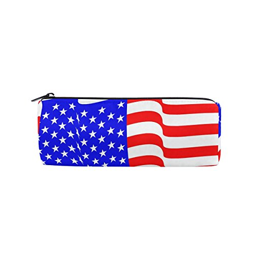 American Flag Wave Pencil Bag Pen Case Stationery Pouch Coin Purse with Zipper for School Work Office
