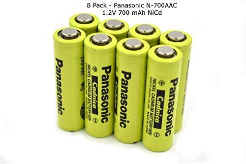 8 Pack - New Panasonic/Sanyo AA NiCd 1.2V 700 mAh N-700AAC Rechargeable Battery (Batteries Sanyo Nicad)