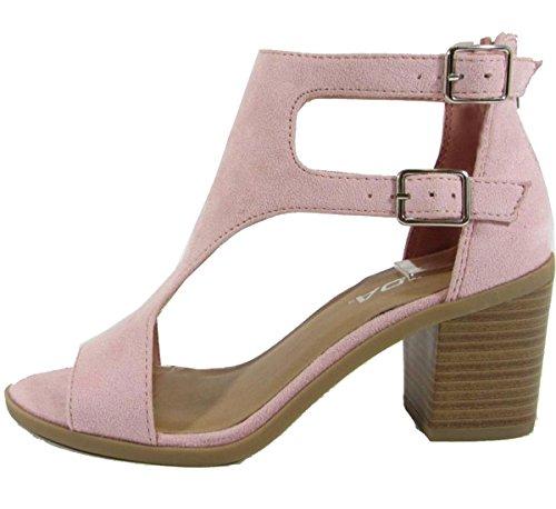 Image of SODA Women's Open Toe Double Buckle Cutout Stacked Heel Sandal