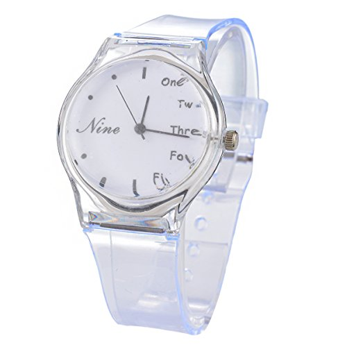 Souarts Womens Clear Plastic Watchband Round Analog Quartz Wrist Watch White English - Clear Watch Wrist