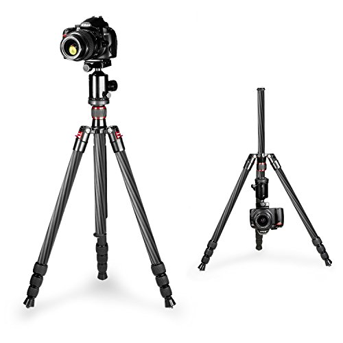 Neewer Carbon Fiber 168 centimeters Tripod Monopod with 360 Degree Ball Head,Fluid Video Head,1/4 inch Quick Release Plate,Bag for DSLR Camera,Video Camcorder Load up to 12 kilograms