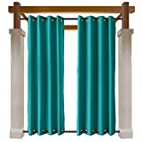 Macochico Windproof Curtains Bronze Grommet at Top and Bottom Turquoise Outdoor Blackout Drapes Water Repellent for Cabana Gazebo Pergola Porch Noise Reducing Heat Insulated 84W x 84L (1 Panel)