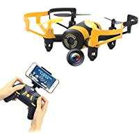 Fistone RC Drone Quadcopter Remote Control Aircraft 2.4G Built-in 6-Axis Gyro Wifi Camera for Iphone Android Mini RC Helicopter Real-Time Video HD Camera with Headless Mode Yellow