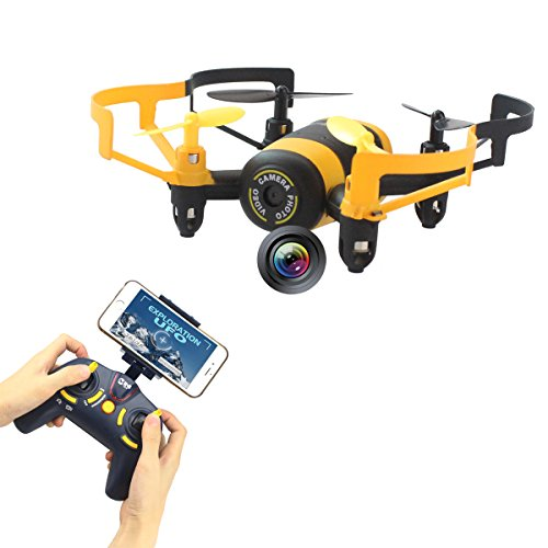 Fistone RC Drone Quadcopter Remote Control Aircraft 2.4G Built-in 6-Axis Gyro Wifi Camera for Iphone Android Mini RC Helicopter Real-Time Video HD Camera with Headless Mode Yellow (Rc Function Full Helicopter)