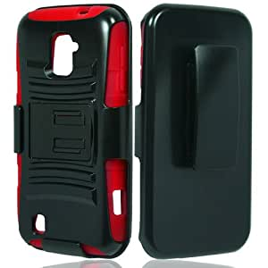 Black Red Rhino Holster Hybrid Gel Case Cover for ZTE Majesty/Source + Keychain Tool