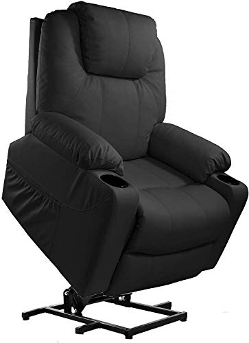 Furgle Power Lift Recliner Chair with Massage, Heat and Vibration Elderly Massage Recliner TUV Certified Living Room Lounge Sofa Faux Leather with 2 Remotes, Side Pockets and Cup Holders – Black