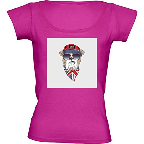 T-Shirt Rose Fushia pour Femme - Col Rond - Taille XL - Guy Anglais ... f8a638197e11