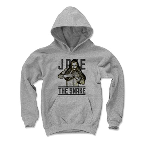 500 LEVEL Jake The Snake Roberts Youth Hoodie - Kids Large Gray - Old School WWF Wrestling Apparel - Jake The Snake Sketch Color by 500 LEVEL