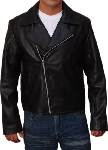Fjackets Ghost Rider Costume Jacket - Black Leather Motorcycle Boys Jacket (Ghost Rider Costume For Sale)