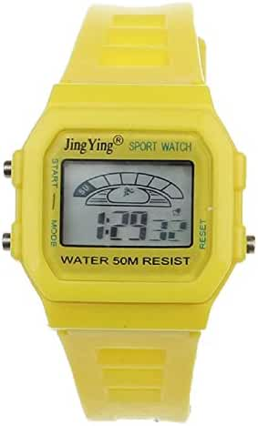 Sannysis Fashion Boy Girl Electronic LCD Digital Round Rubber Sport Wrist Watch Yellow