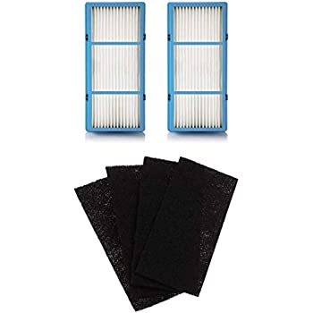 Nispira 2 Replacement HEPA Filter + 4 Charcoal Booster Pre Filter for Holmes AER1 Total Air Filter, HAPF30AT for Purifier HAP242-NUC