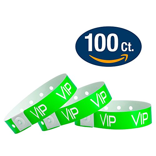 WristCo Neon Green VIP Plastic Wristbands - 100 Pack Wristbands For Events