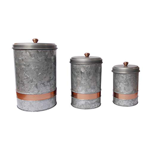 Benzara Galvanized Metal Lidded Canister with Copper Band, Set of Three, Gray,