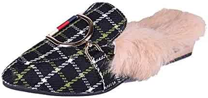 1ddcf22e3de Womens Ladies Backless Loafer Mule Shoes with Faux Fur Linings and Buckle