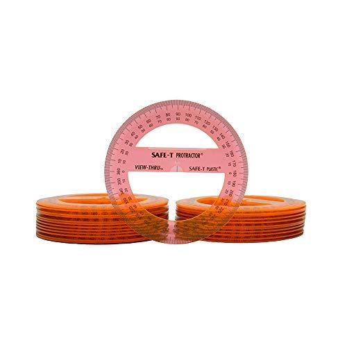 Safe-T Plastic Orange 360 Degree Protractors, Bulk Set for Classroom Geometry (Pack of 24)