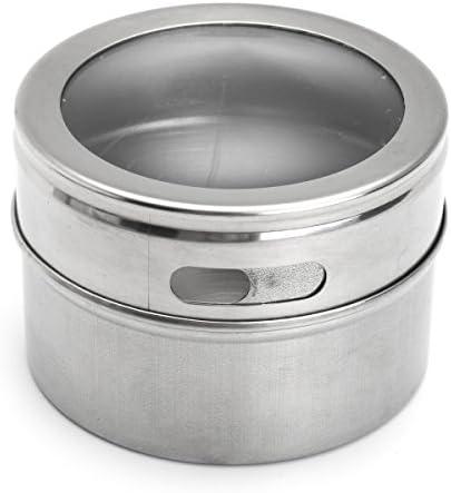 Queenwind 12Pcs のステンレス鋼のスパイスのオーガナイザーの錫の貯蔵の容器の瓶の明確なふたの台所