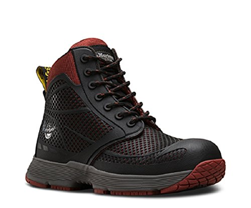 Cap Toe 10 Eye Boot (Dr. Martens Men's Calamus Electrical Hazard ST 7 Eye Boots, Black Mesh, Rubber, 10 M UK, 11 M US)
