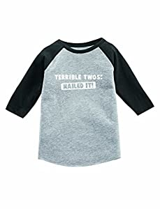 Terrible Twos Nailed It! 2nd Birthday 3/4 Sleeve Baseball Jersey Toddler Shirt 3T Dark Gray