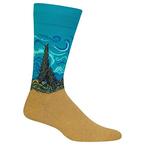 Hot Sox Men's Artist Series Crew Socks, Wheat Field with Cypress (Turquoise), Shoe Size:6-12 / Sock Size: - Premium Cypress