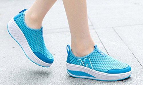 Fashion Walking Running JiYe Casual Outdoor Slip Shoes Sneaker Hollow Blue On Mesh Women's Shoes nwq8zxFqPU