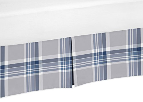 Navy Blue and Gray Crib Bed Skirt Dust Ruffle for Boys Plaid Collection Baby Bedding Sets